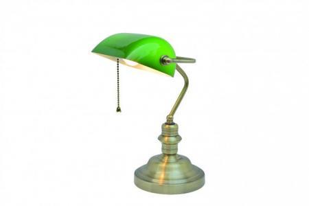 Лампа настольная Banker ARTE LAMP. Цвет: античная бронза, зелёный