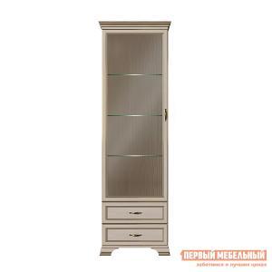 Шкаф-витрина  Шкаф витрина Сиена Бодега белый, патина золото, Со стеклополками КУРАЖ. Цвет: светлое дерево