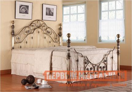 Двуспальная кровать  Victoria + основание Античная медь, Спальное место 1600 X 2000 мм Tetchair. Цвет: серый