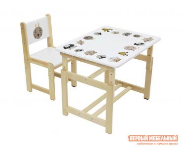 Столик и стульчик  Комплект растущей детской мебели kids Eco 400 SM 68х55 см Лесная сказка Polini. Цвет: белый