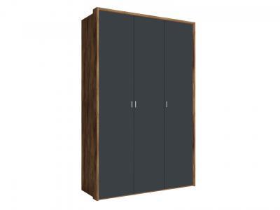 Распашной шкаф  3-х дверный Вега Бавария Таксония медовая / Антрацит, Без зеркала, С топом-накладкой КУРАЖ. Цвет: коричневое дерево