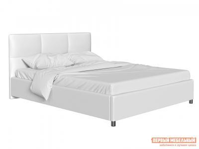 Двуспальная кровать  с мягким изголовьем Агата Белый, экокожа , 140х200 см Первый Мебельный. Цвет: белый