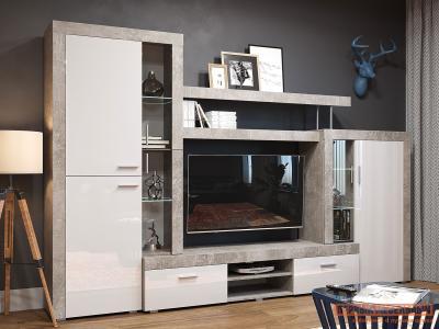 Гостиная  71020123 МОНТАНА СТ-1 МДФ Atelier светлый / Белый глянец НКМ. Цвет: белый