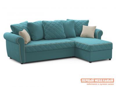Угловой диван  Догвиль Бирюзовый, велюр , новый Живые диваны. Цвет: зеленый