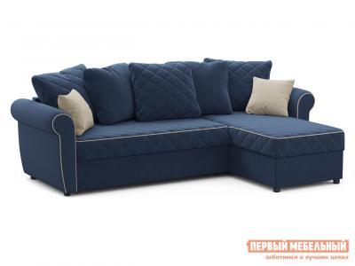 Угловой диван  Догвиль Синий, велюр, новый Живые диваны. Цвет: синий