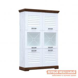 Шкаф-витрина  Пенал Кантри низкий со стеклом Сосна андресон/ Орех рибек темный СБК. Цвет: белый