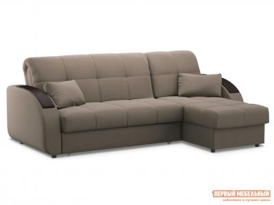 Угловой диван  Уильям с оттоманкой / Люкс Латте, велюр , 140х200 см, Независимый пружинный блок Живые диваны. Цвет: бежевый