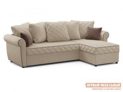 Угловой диван  Догвиль Бежевый, велюр, новый Живые диваны. Цвет: бежевый