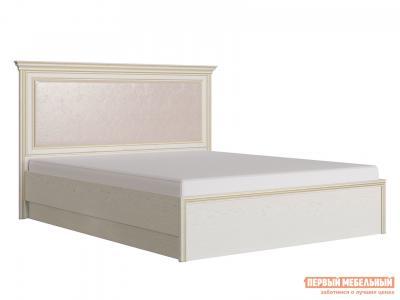 Двуспальная кровать  Венето 1800 Х 2000 мм, Дуб молочный / Кожа перламутр, С подъемным механизмом КУРАЖ. Цвет: бежевый