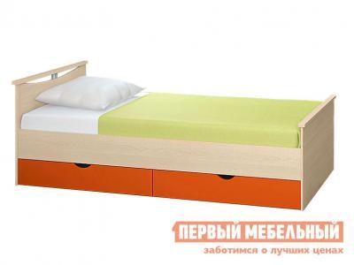 Детская кровать  Мелисса с выдвижными ящиками Корпус Шимо светлый / Фасад Оранжевый, Спальное место 900 Х 2000 мм Боровичи. Цвет: оранжевый
