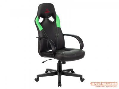 Игровое кресло  ZOMBIE RUNNER Черный, экокожа / Зеленый, Бюрократ. Цвет: черный