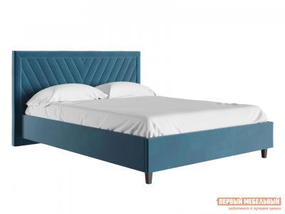 Двуспальная кровать  с подъемным механизмом Саманта Синий, микровелюр, 1800 Х 2000 мм Первый Мебельный. Цвет: синий