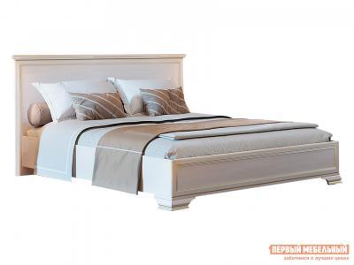 Двуспальная кровать  с подъемным механизмом Сиена Бодега белый, патина золото, 160х200 см КУРАЖ. Цвет: светлое дерево