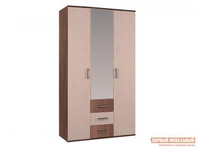 Распашной шкаф  3-х створчатый с зеркалом Белла Ясень шимо / Дуб BTS. Цвет: светлое дерево