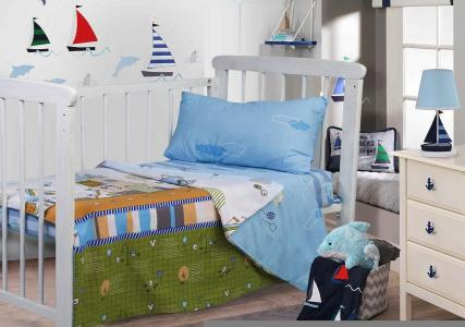 Детское постельное белье Адель. Цвет: голубой