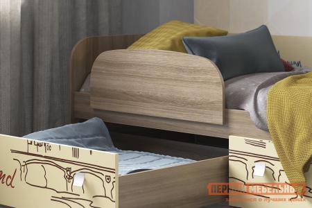 Детская кровать  Челси Ясень Шимо темный / Крем, С бортиком МебельСон. Цвет: темное-cветлое дерево