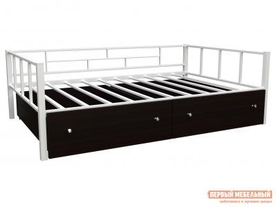 Детская кровать  Арга 120 с ящиками Белый / Венге ЧСМФ. Цвет: белый