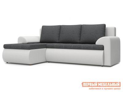 Угловой диван  Цезарь У Серо-белый, рогожка / иск. кожа, Левый Столлайн. Цвет: белый