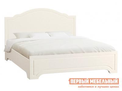 Двуспальная кровать  Ливерпуль 160х200 с основанием и ножками Ясень Ваниль / Белый Моби. Цвет: белый