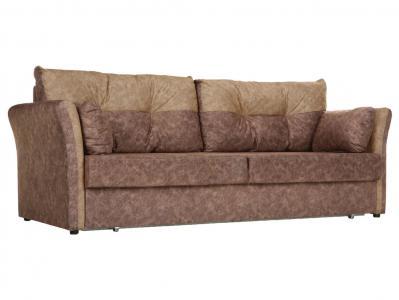 Прямой диван  Римейк Коричневый / Бежевый, микровелюр Столлайн. Цвет: коричневый