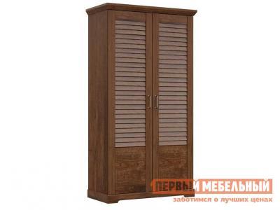 Распашной шкаф  для одежды 2-х дверный Кантри Орех рибек темный СБК. Цвет: коричневое дерево