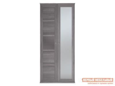 Распашной шкаф  2-х дверный Парма НЕО Лиственница темная / Экокожа дила, С одним зеркалом КУРАЖ. Цвет: серый