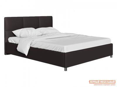 Двуспальная кровать  с мягким изголовьем Агата Коричневый, экокожа , 160х200 см Первый Мебельный. Цвет: коричневый