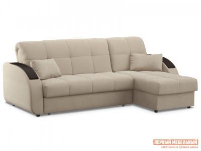 Угловой диван  Уильям с оттоманкой / Люкс Бежевый, велюр, 140х200 см, Независимый пружинный блок Живые диваны. Цвет: бежевый