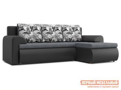 Угловой диван  Цезарь У Серо-черный, рогожка / иск. кожа, Правый Столлайн. Цвет: серый