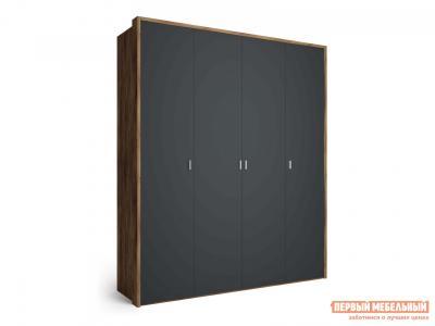 Распашной шкаф  4-х дверный Вега Бавария Антрацит, Без зеркала, С топом-накладкой КУРАЖ. Цвет: серый