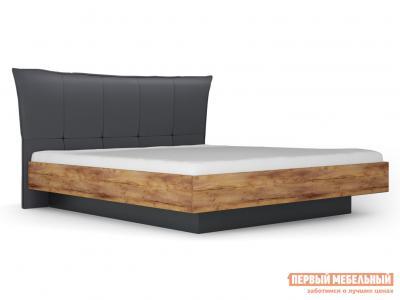 Двуспальная кровать  с подъемным механизмом Вега Бавария Таксония медовая / Кожа поло графит, 1400 Х 2000 мм КУРАЖ. Цвет: серый