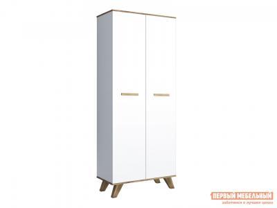 Распашной шкаф  для одежды 800 Вега Скандинавия Дуб Каньон / Белый глянец КУРАЖ. Цвет: белый