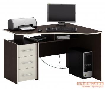 Компьютерный стол  Триан-5 Венге / Дуб Молочный, Правый МФ Мастер. Цвет: темное-cветлое дерево