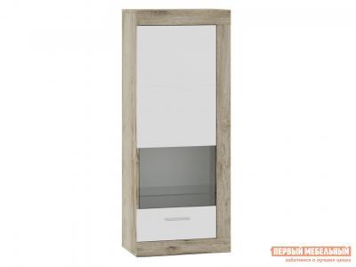 Шкаф-витрина  71280121 ГЕНЕЗИС шкаф навесной(витрина) Дуб серый Крафт / Белый глянец НКМ. Цвет: белый