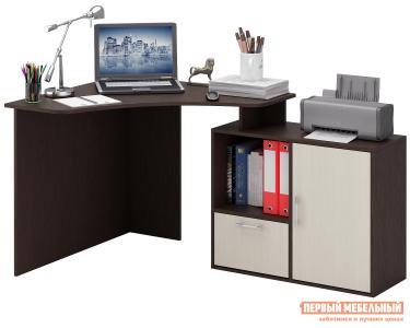 Компьютерный стол  Корнет-2 Венге / Дуб Молочный МФ Мастер. Цвет: темное-cветлое дерево