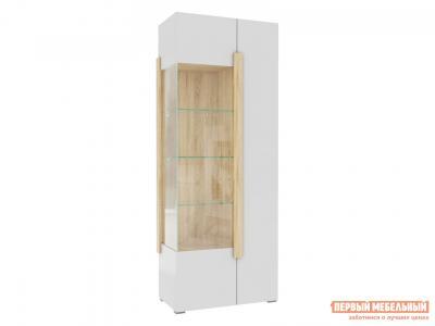 Шкаф-витрина  1701.М3 Дуб Сонома / Белый глянец, Без подсветки Милана. Цвет: белый